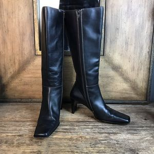 Anne Klein Black Square Toe Tall Zip Boot 8